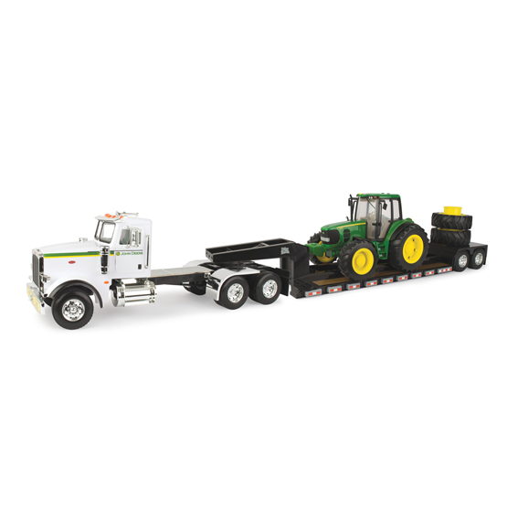 Tomy John Deere Big Farm 1:16 Scale Model 367 Peterbilt Semi & Lowboy Trailer With 7430 Tractor