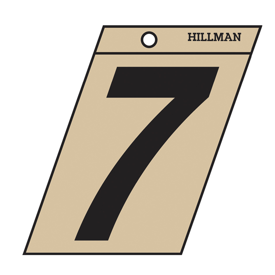 Hillman 839472 3-Inch Black On Gold Angle-Cut Mylar Number 7