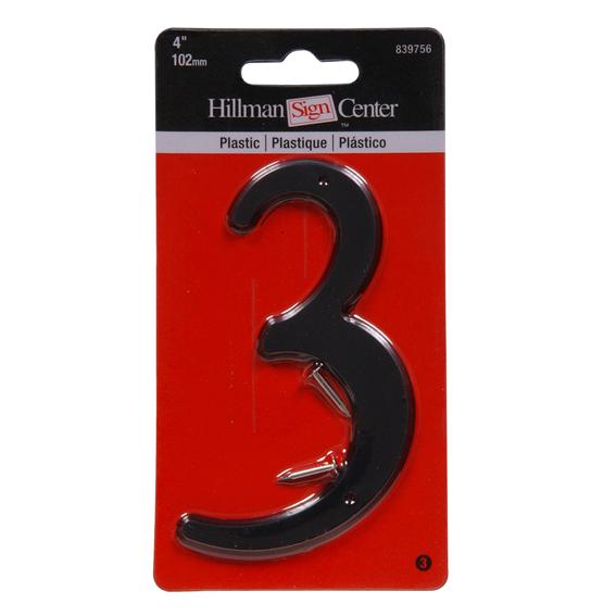 HILLMAN 839756 4 INCH BLACK PLASTIC NUMBER 3
