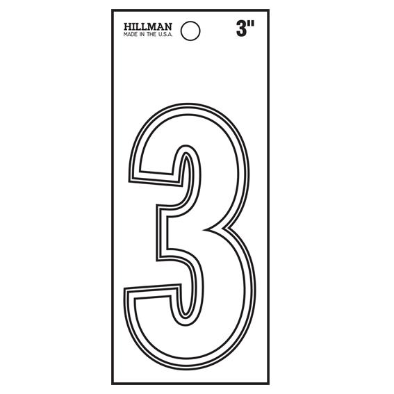 HILLMAN 839688 3 INCH WHITE VINYL PEEL-OFF NUMBER 3