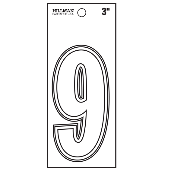 Hillman 839700 3-Inch White Vinyl Peel-Off Number 9