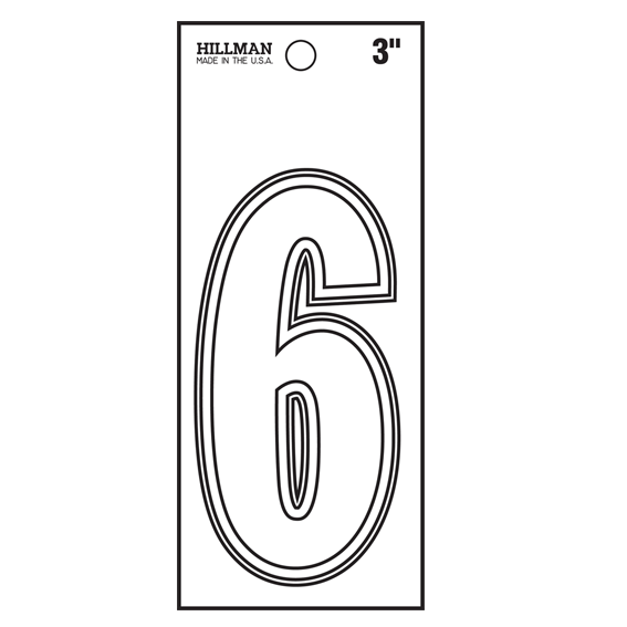 Hillman 839694 3-Inch White Vinyl Peel-Off Number 6