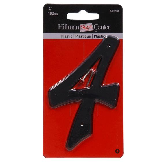 Hillman 839758 4-Inch Black Plastic Number 4