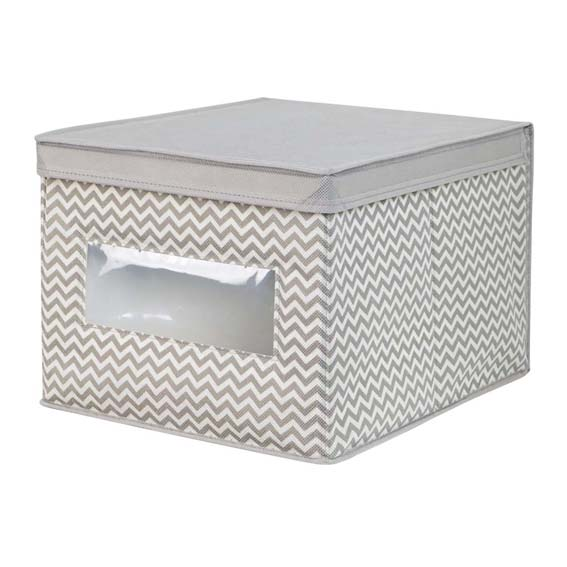Interdesign 04251 Axis Large Fabric Storage Box - Taupe/Natural
