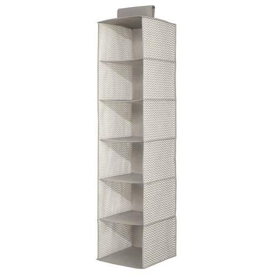 Interdesign 4471 Fabric 6 Shelf Closet Organizer, Taupe