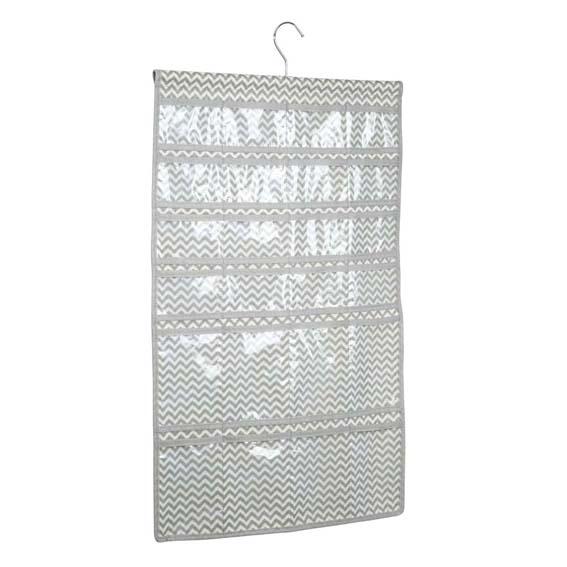 Interdesign 04371 Axis Fabric Hanging Jewelry Organizer, Taupe