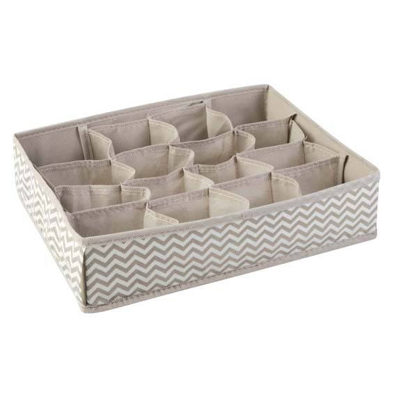 Interdesign 04321 Axis Fabric Drawer Organizer - Taupe/Natural