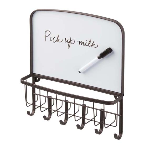 Interdesign 51171 York Lyra Dry-Erase Mail Center & Key Rack - Bronze