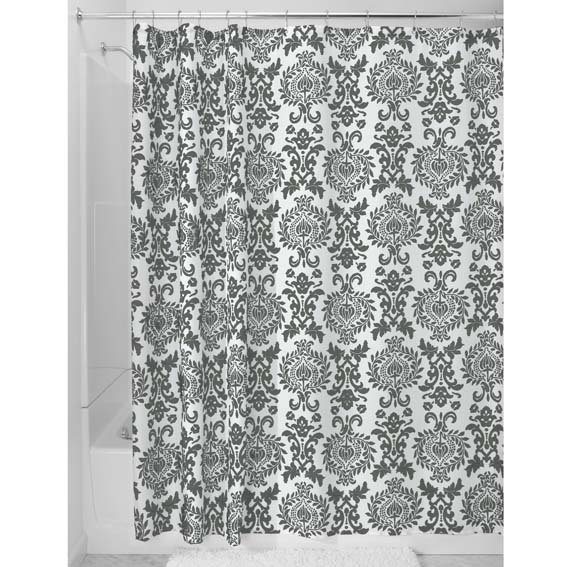 INTERDESIGN 40423 DAMASK FABRIC SHOWER CURTAIN - CHARCOAL