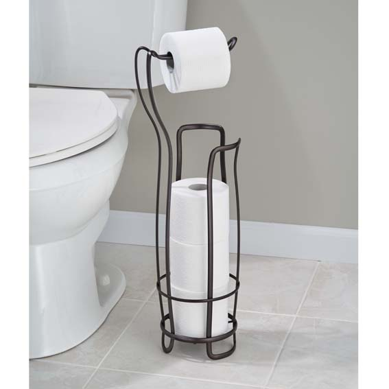 Interdesign 55642 Axis Toilet Paper Roll Holder Plus, Bronze