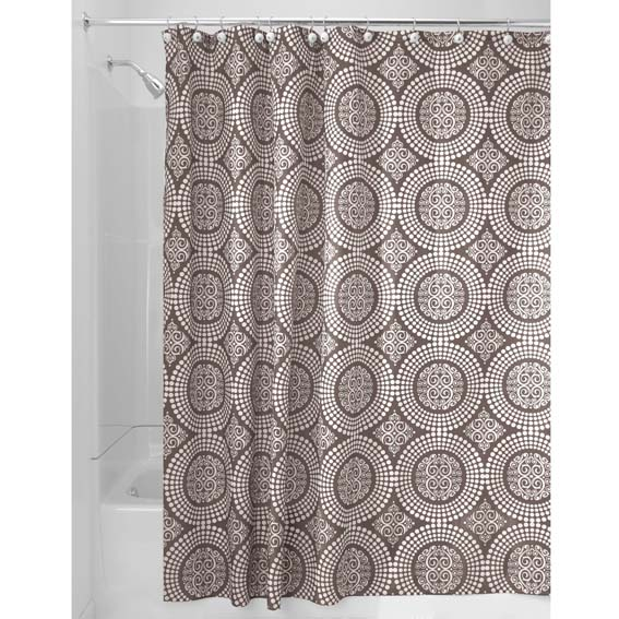 Interdesign 40423 Medallion Fabric Shower Curtain - Taupe