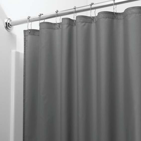 Interdesign 14630 Fabric Shower Curtain / Liner, Charcoal