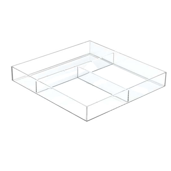 Interdesign Clarity Modular Stackable Divided Drawer Organizer 12-Inch X 12-Inch