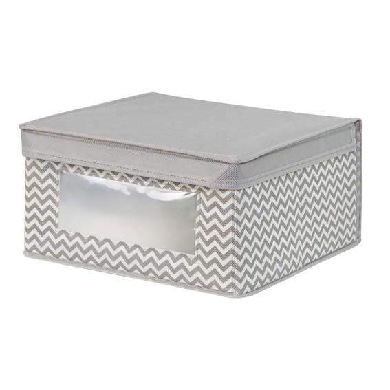 Interdesign 04271 Axis Medium Fabric Storage Box - Taupe/Natural