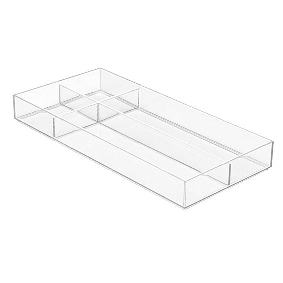 Interdesign Clarity Modular Stackable Divided Drawer Organizer 8-Inch X 16-Inch