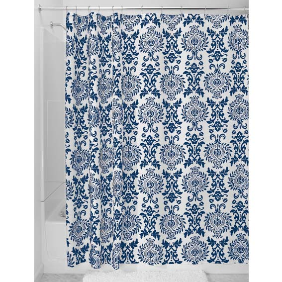 Interdesign 40424 Damask Fabric Shower Curtain - Navy Blue