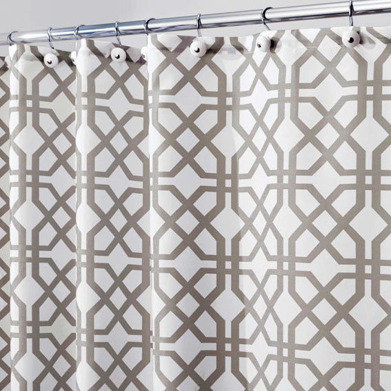 Interdesign 45420 Trellis Fabric Shower Curtain - Stone