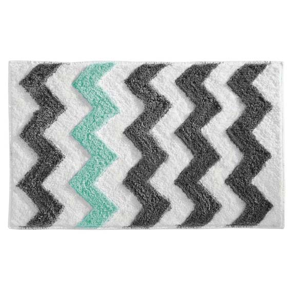 Interdesign 19051 Chevron Accent Rug - Gray, White, Green