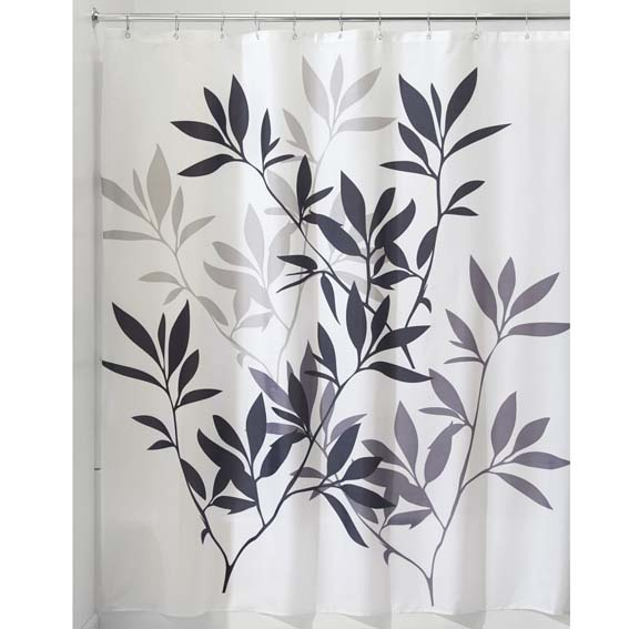 Interdesign 36520 Leaves Fabric Shower Curtain