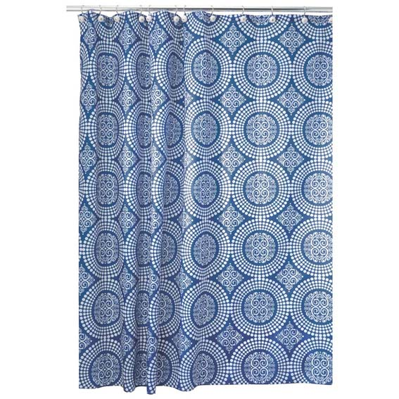 Interdesign 40423 Medallion Fabric Shower Curtain - Navy