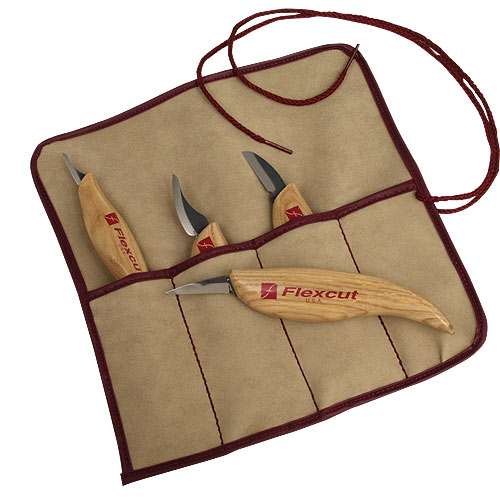Flexcut #KN100 4 Pc  Knife Set & Tool Roll