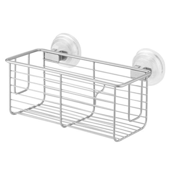 Interdesign 24329 Classico Power Lock Suction Shower Basket, Silver
