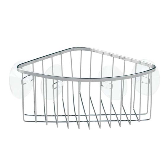 Interdesign 69102 Chrome Suction Corner Basket