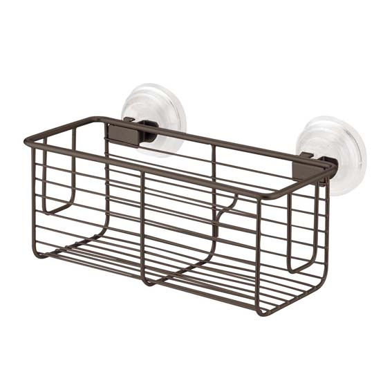 Interdesign 24321 Classico Power Lock Suction Shower Basket, Bronze