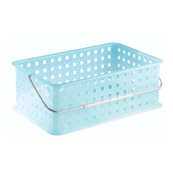 INTERDESIGN 61663 MEDIUM STORAGE ORGANIZER BASKET WITH HANDLE - WATER BLUE