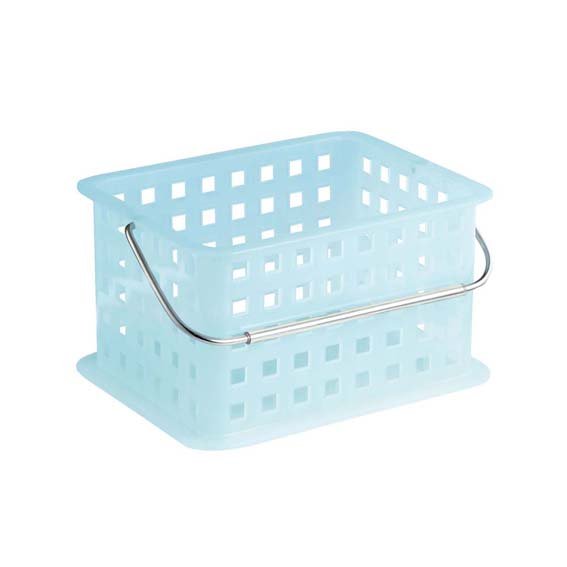 INTERDESIGN 61253 SMALL STORAGE ORGANIZER BASKET WITH HANDLE - WATER BLUE