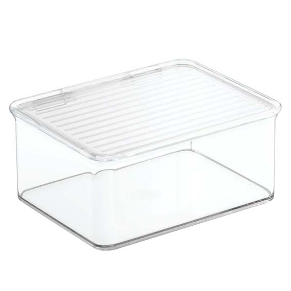 Interdesign 67130 Kitchen Binz Stackable Storage Organizer Bin With Lid - 1.25 Qt.