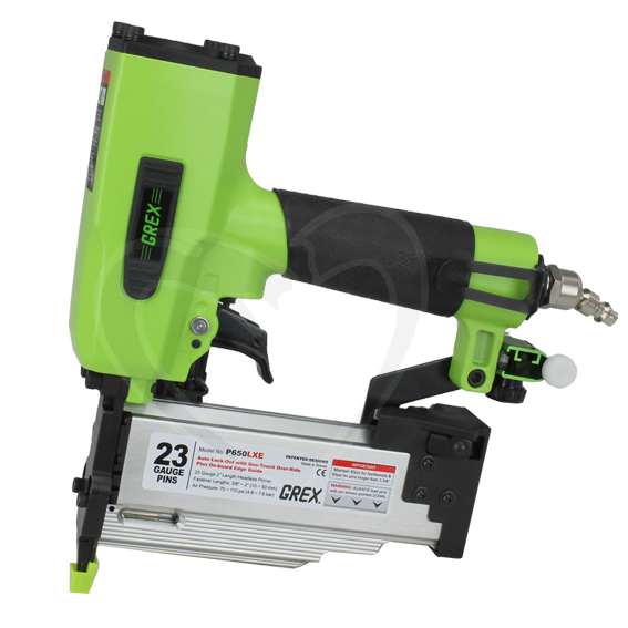 Grex #P650LXE 3/8 Inch to 2 Inch 23 Gauge Headless Pinner w/Auto Lock-Out & One-Touch Overide