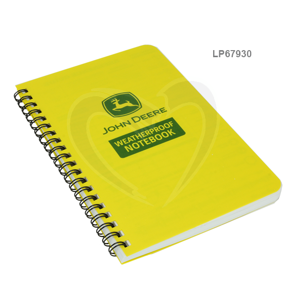 JOHN DEERE #LP67930 RITE IN THE RAIN 4-5/8 X 7 ALL-WEATHER SIDE-SPIRAL NOTEBOOK JD73