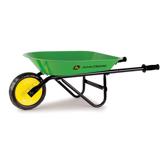 TOMY JOHN DEERE CHILDRENS STEEL WHEEL BARROW