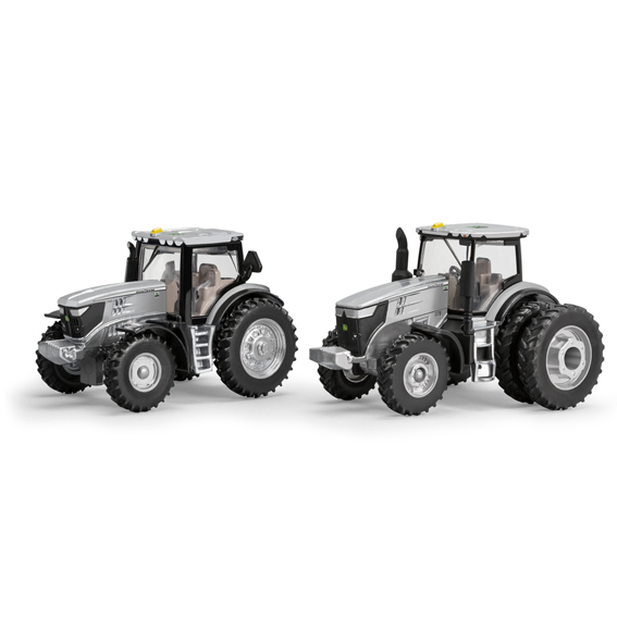 ERTL JOHN DEERE 1:64 SCALE MODEL 6215R & 7290R 100th ANNIVERSARY SILVER COLLECTOR TRACTORS