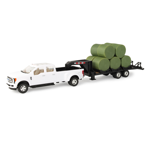 TOMY 1:32 SCALE FORD F-350 TRUCK WITH TRAILER & HAY BALES