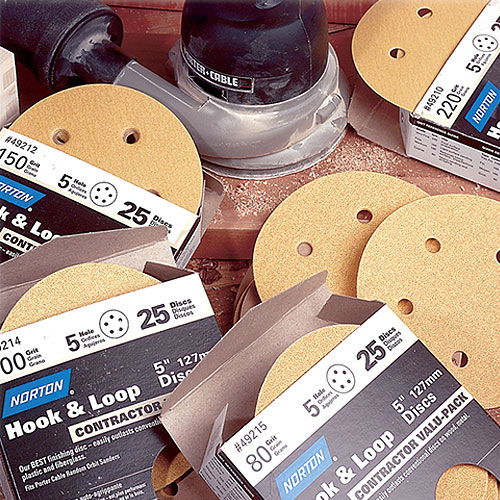 Norton Hook & Sand Abrasive Discs - 5 Inch x 5 Hole x 220 Grit - 25 Pk