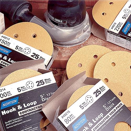 Norton Hook & Sand Abrasive Discs - 5 Inch x 8 Hole x 220 Grit - 25 Pk