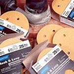 Norton Hook & Sand Abrasive Discs - 5 x 8 Hole x 220 Grit - 25 Pk.