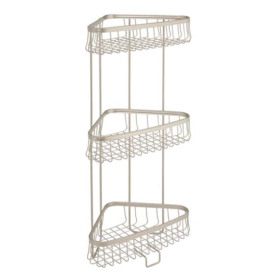 Interdesign 62885 York Lyra 3 Tier Corner Shower Shelf, Chrome
