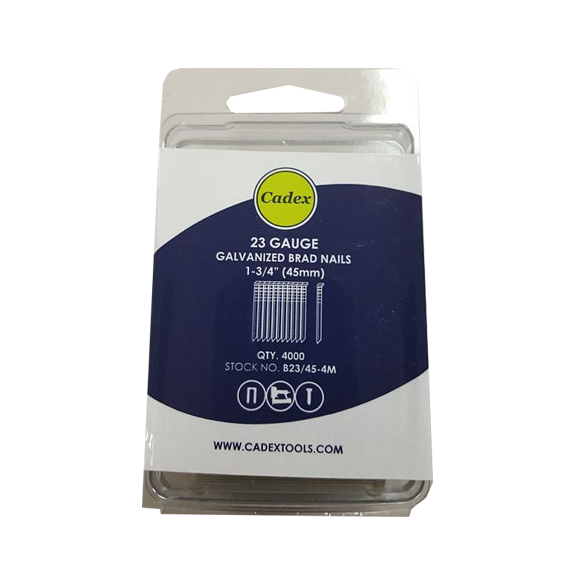 Cadex B23/45-4M 1-3/4 / 45mm 23 Gauge Galvanized Brad Nails - 4,000 Pk.