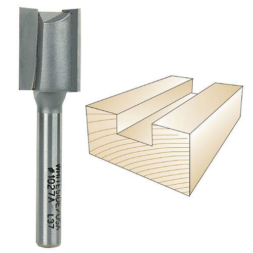 WHITESIDE #1027A STRAIGHT PLYWOOD BIT - 1/4 INCH SH X 19/32 INCH CD X 3/4 INCH CL