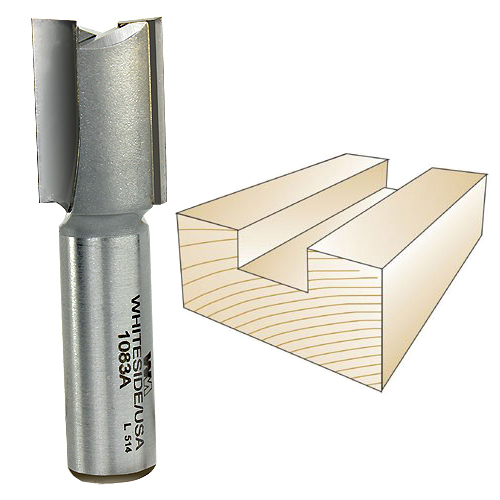 WHITESIDE #1083A STRAIGHT PLYWOOD BIT - 1/2 INCH SH X 23/32 INCH CD X 1 INCH CL
