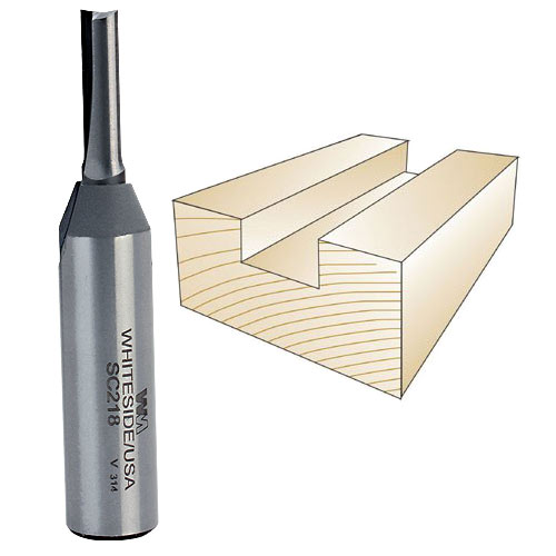 Whiteside SC218 Straight Plywood Bit- 1/2 Inch SH X 7/32 Inch CD X 3/4 Inch CL