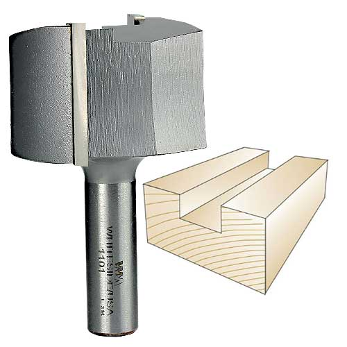 Whiteside 1101 Straight Router Bit, 1/2-Inch Shank x 2-Inch CD x 1-1/4-Inch CL