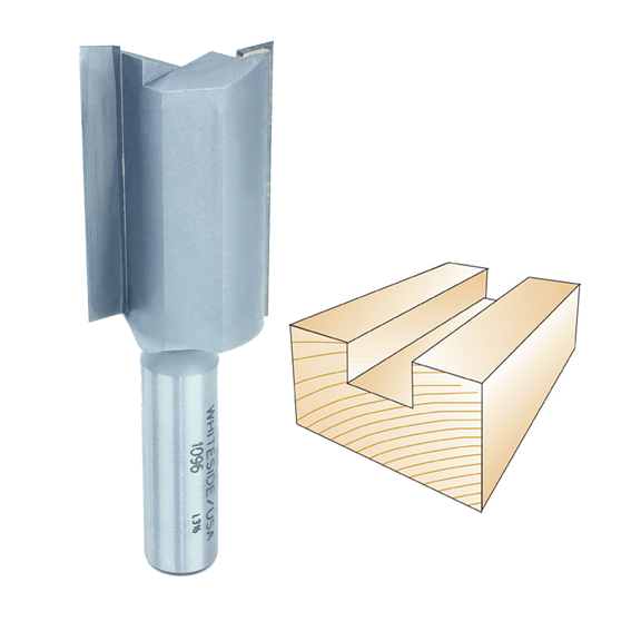 Whiteside 1096 Straight Router Bit, 1/2-Inch Shank x 1-1/8-Inch CD x 1-1/2-Inch CL