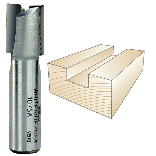 Whiteside 1075A Straight Plywood Router Bit, 1/2-Inch Shank x 19/32-Inch CD x 3/4-Inch CL