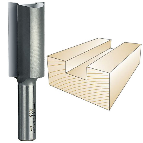Whiteside 1095 Straight Router Bit, 1/2-Inch Shank x 1-Inch CD x 2-Inch CL