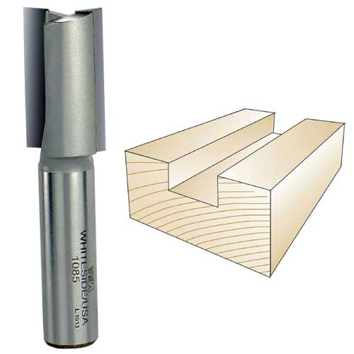 Whiteside 1085 Straight Router Bit, 1/2-Inch Shank x 3/4-Inch CD x 1-1/4-Inch CL