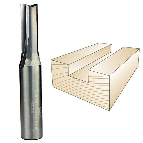 WHITESIDE #SC23 SOLID CARBIDE STRAIGHT BIT - 1/2 INCH SH X 3/8 INCH CD X 1 INCH CL